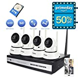FREDI 4CH HD 720P Wifi Camera Indoor Home Security Camera System CCTV Kit Wireless IP Camera System IR Night Vision Pan/Tilt Motion Detection(+2TB HDD)
