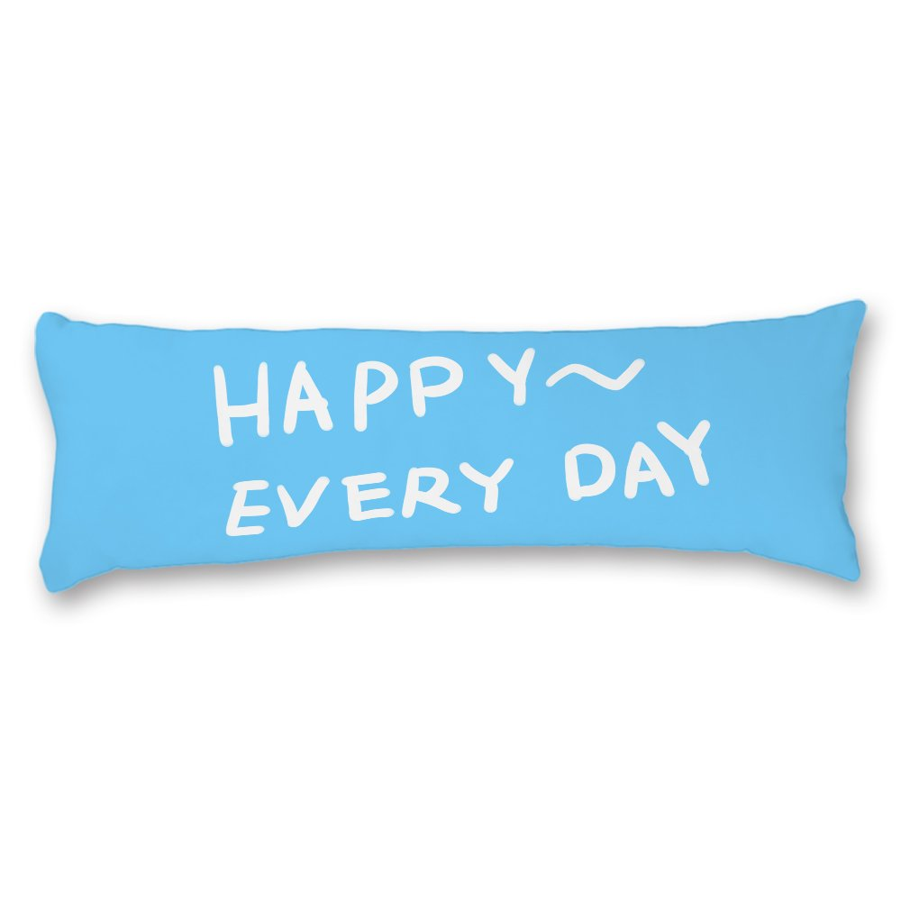 Ojngdafs Happy Every Day Blue Cotton Body Pillow Cover Cases Square 20 x 54 Inches for Bed Valentines Day Gifts Birthday Gifts Gifts for Couples