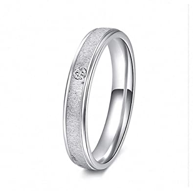 1b119d1eadf652 Womens Mens Ring 1Pc Plain Silver Color Stainless Steel Band Ring  Engagement Jewelry Crystal Ring Full