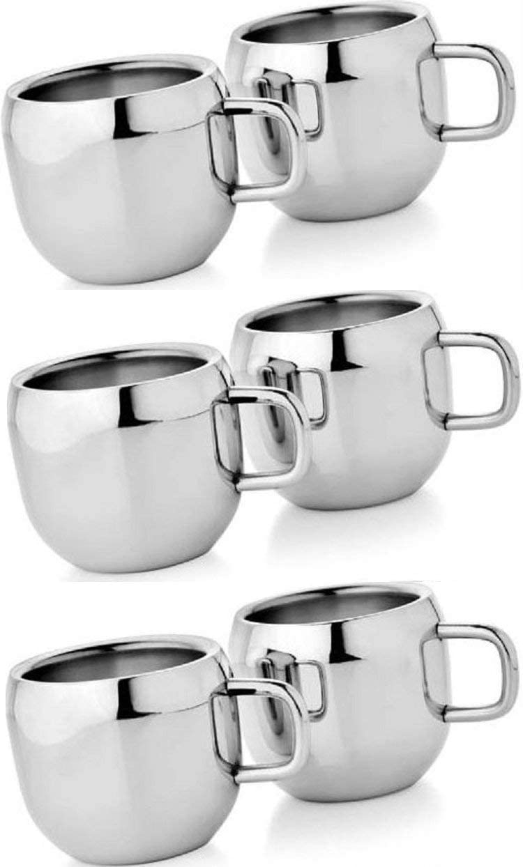 WhopperIndia Coffee Cup Espresso Cup Mug Double Wall Stainless Steel Tea Cups, Reusable & Dishwasher Safe Set of 6