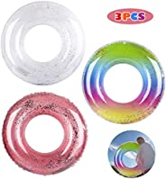 FiGoal 3 Pack Inflatable Pool Float Glitter Swimming Pool Ring Funny Pool Tube Toys for Summer Water Parties O