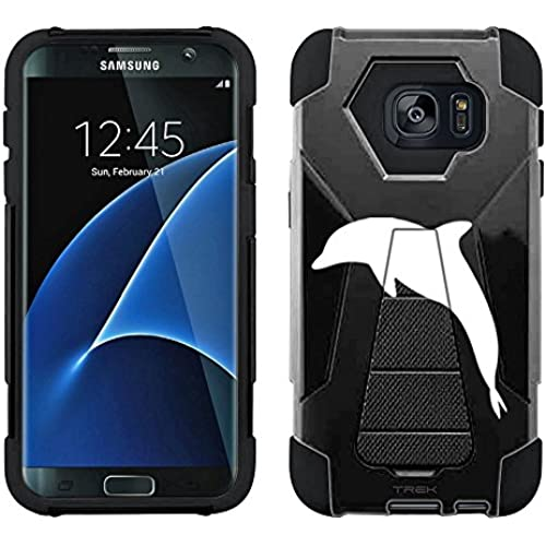 Samsung Galaxy S7 Edge Hybrid Case Silhouette Dolphin on Black 2 Piece Style Silicone Case Cover with Stand for Sales