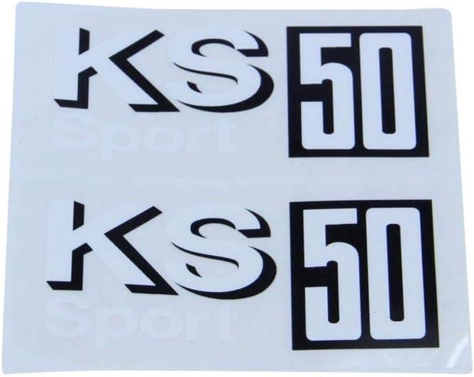 Z/ündapp Aufkleber Satz Seitendeckel Supersport Schwarz Silber f/ür KS 50 Dekor Sticker Set