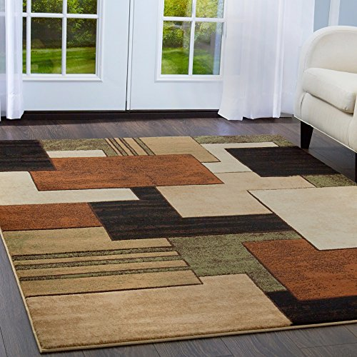 Home Dynamix Tribeca Mason Area Rug 3 Piece Set, Abstract Brown/Green