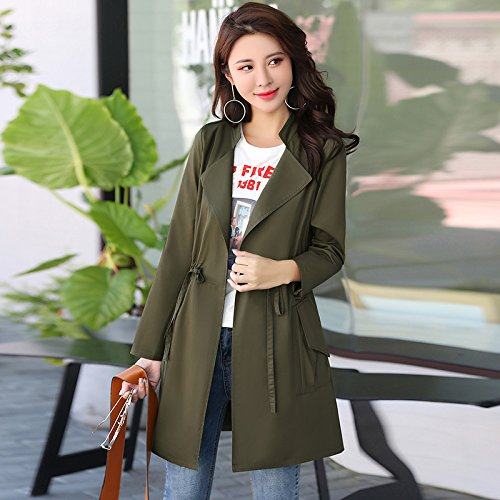 Jackets Windbreaker green nbsp; Collar SCOATWWH Replace In Coats Army Stylish Loose Female Long Female Women'S amp; Jacket BwFWnw6a