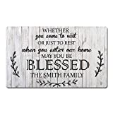 Artsbaba Custom Family Name Personalized Doormat When You Enter Our Home May You Be Blessed Door Mat Rubber Non-Slip Entrance Rug Home Decor Indoor Floor Mat 30 x 18 Inches, 3/16 Thickness