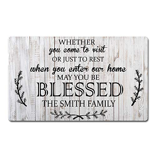 Artsbaba Custom Family Name Personalized Doormat When You Enter Our Home May You Be Blessed Door Mat Rubber Non-Slip Entrance Rug Home Decor Indoor Floor Mat 30 x 18 Inches, 3/16 Thickness (Door Personalized Mats Outside)