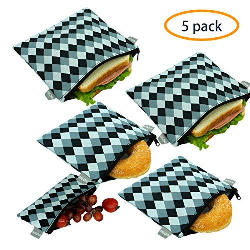 Reusable Sandwich Bags Snack Bags - Set of 5 Pack, Dishwasher Safe Lunch Bags with Zipper, Eco Friendly Food Wraps, BPA-Free. (Lattice)