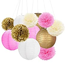 12Pcs 8'' 10'' Tissue Paper Pom Pom Flowers and Paper Lanterns Party Decoration - Gold, Pink & Ivory