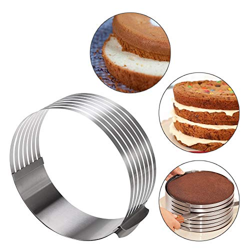 KALREDE 7 Layer cake slicer-Stainless steel 9 Inch to 12 Inch Cake Ring Round Adjustable Mousse Molds