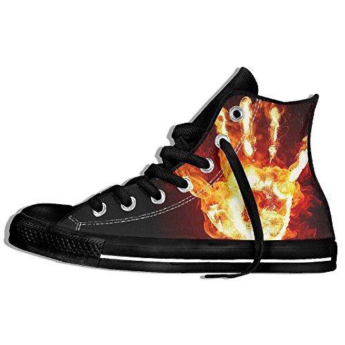 Classiche Sneakers Alte Scarpe Di Tela Antiscivolo Fire Palm Casual Da Passeggio Per Uomo Donna Nero
