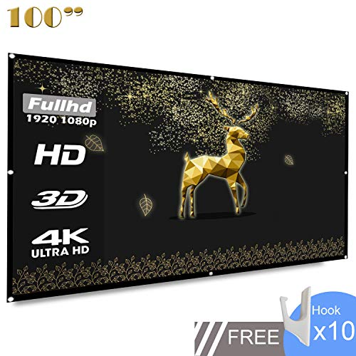 (Projection Screen 100 inch 16:9 HD Foldable Anti-Folding Portable Projector Movie Screen for Home Theater Outdoor Indoor Support Double-Sided Projection-Koogoo(100 inch))