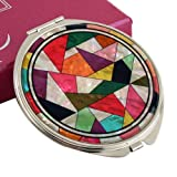 Mother of Pearl Magnifying Patchwork Design Make up Double Compact Cosmetic Double Round Vanity Metal Mirror
