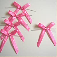 Polka Dot Pink Satin Pre-tied Ribbon Bows for Cello Bags