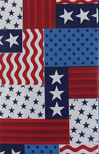 American Flag Patriotic Patchwork Vinyl Flannel Back Tablecloth (52
