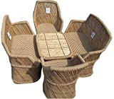 Ecowoodies Hebe Eco Friendly Handicraft Cane Stool/ Chair Cane Furniture Set( 2 Chair+2 Sofa Set +1 Table)