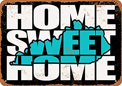Wall-Color 7 x 10 Metal Sign - Home Sweet Home Kentucky Black Teal - Vintage Look