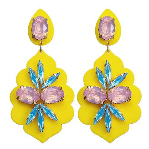Acrylic Wood Crystal Hoop Earrings Resin Geometry Teardrop Oval Fan Shaped Drop Dangle Stud Earrings for Women Girls