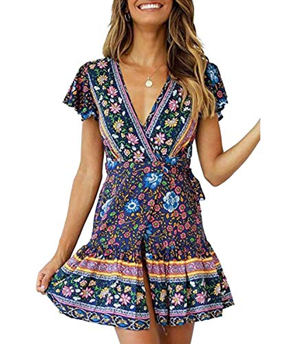 LOVINO Women's Short Sleeve Mini Dress Summer Sexy V Neck Ruffle A Line Beach Dress Vintage Floral Boho Dresses for Women Navy Large