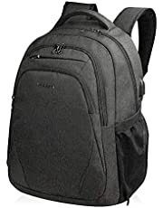 KROSER Laptop Backpack 15.6 Inch Computer Backpack School Backpack Casual Daypack Water-Repellent Laptop Bag with USB Charging Port for Travel/Business/College/Women/Men-Black