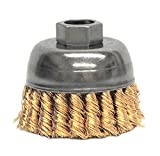 Weiler 13299 Knot Wire Cup Brush, 2-3/4'' Single Row, 0.20'' Bronze, 5/8''-11 UNC Nut