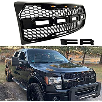 Front Grille Fits 2009 2014 Ford F150 Raptor Style Grill Kits With Amber Led Light And F R Letter Gloss Black