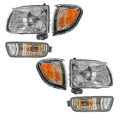 ghts w/Chrome Turn Parking Signal Lights Lamps Kit Set of 6 ()