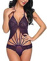 Oheetu Lingerie for Women Teddy One Piece Lace Babydoll Bodysuit Purple XL