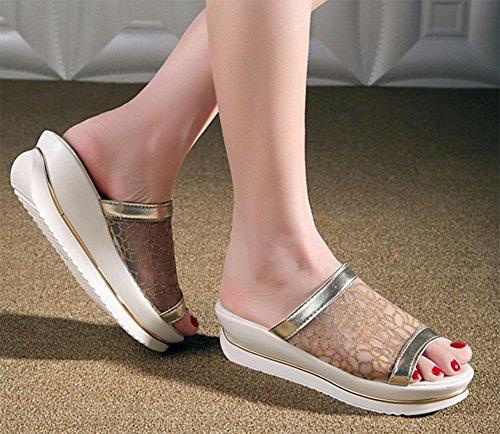 torta Xiaji Canción pendiente corteza gruesa con sandalias y zapatillas palabra arrastre encaje de malla transpirable sandalias de tacón alto Gold