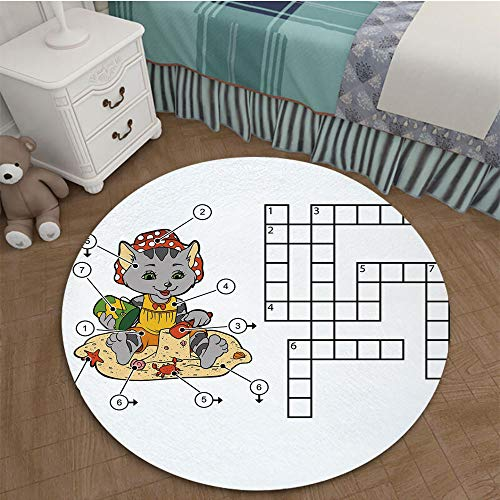 Color Printed Carpet Anti-Slip Floor Rug Soft Baby For Living Room Bedroom 2.62 Ft Diameter Word Search Puzzle,Crossword Game for Children Cute Cat on Beach and Building Sand Castles Decorative,Multic