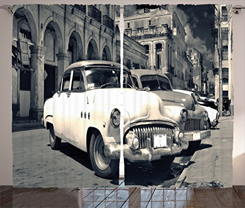 Havana Living Room Set (Old Car Decorations Curtains by Ambesonne, Panoramic View of Shabby Old Havana Street with Vintage Classic American Cars, Living Room Bedroom Decor, 2 Panel Set, 108W X 90L Inches, Grey)