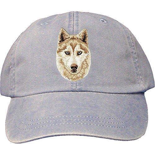Cherrybrook Dog Breed Embroidered Adams Cotton Twill Caps - Periwinkle - Siberian Husky - Embroidered Siberian Husky