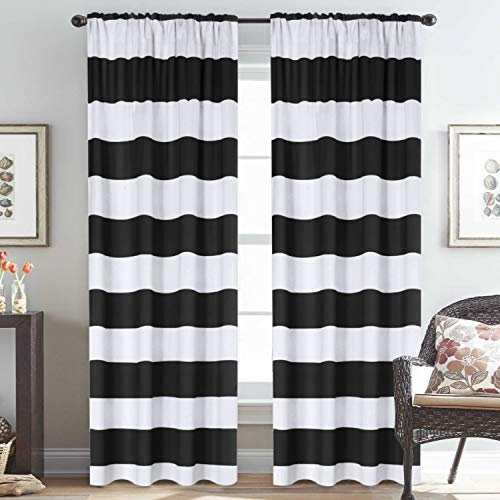 striped pattern thermal insulated curtains