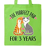 Inktastic - 3rd Anniversary Gift Cat Couples Tote Bag Lime Green