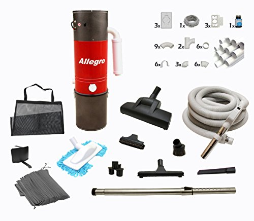 Central Vacuum Complete Air Package with Allegro Unit 3 Inlet Kit & 80 ft Pipe