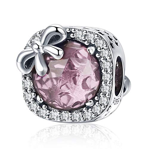 MUERDOU Birthstone Charm for Pandora Charms Bracelet 925 Sterling Silver Bowknot Birthday Crystal Charms for Bracelet and Necklace (October)