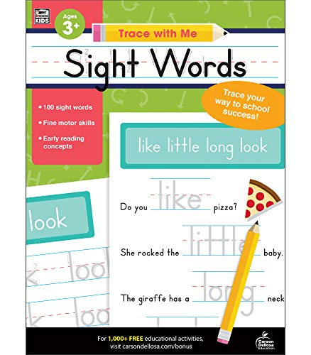 Carson Dellosa - Sight Words Activity Book for PK, K, 1st, 2nd Grade, Paperback, 128 Pages, Ages 4+ (Trace with Me) -