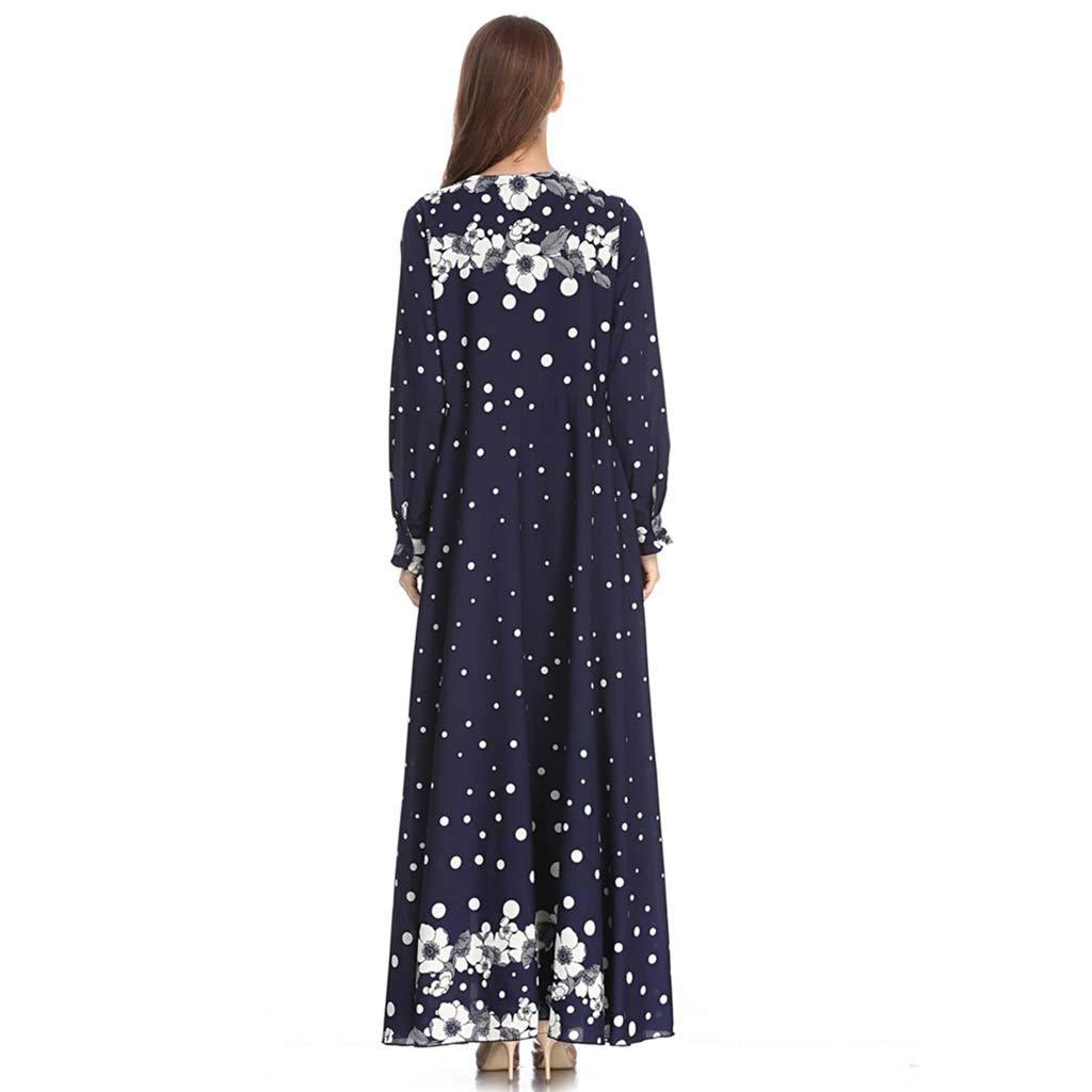 Yattafasion Women Muslim Print Sleek Temperament Slim National Wind Noble Dresses