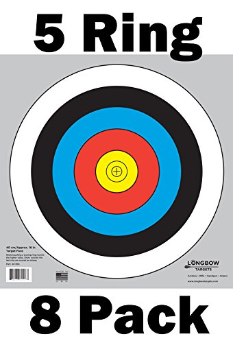 Archery 40cm & 80cm Targets by Longbow (8 Pack, 40cm/approx 17″ (5 Ring))