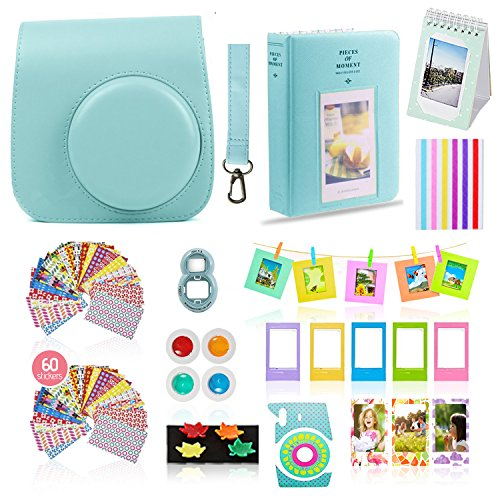 Accessory Package - Fujifilm Instax Mini 9 Camera Accessories Bundle, ICE BLUE Instax Mini Case, 14 PC Kit Includes: 2 Photo Albums, Color Filter, Selfie lens, Magnets + Hanging + Creative Frames, 60 stickers, Gift Set