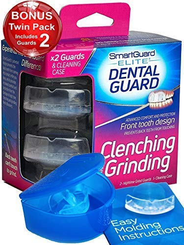 SmartGuard Elite Dental Guard (Twin Pack & Hygiene Case): Less Bulky Mouth Guard for Grinding Teeth - Front-Tooth Night Guard Designed by TMJ Dentist - Relief of Clenching & Grinding - Moldable