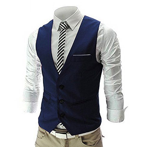 MAGE MALE Men's Slim Fit Suit Vests V-Neck Formal Business Sleeveless Dress Suit Separate Waistcoat ()