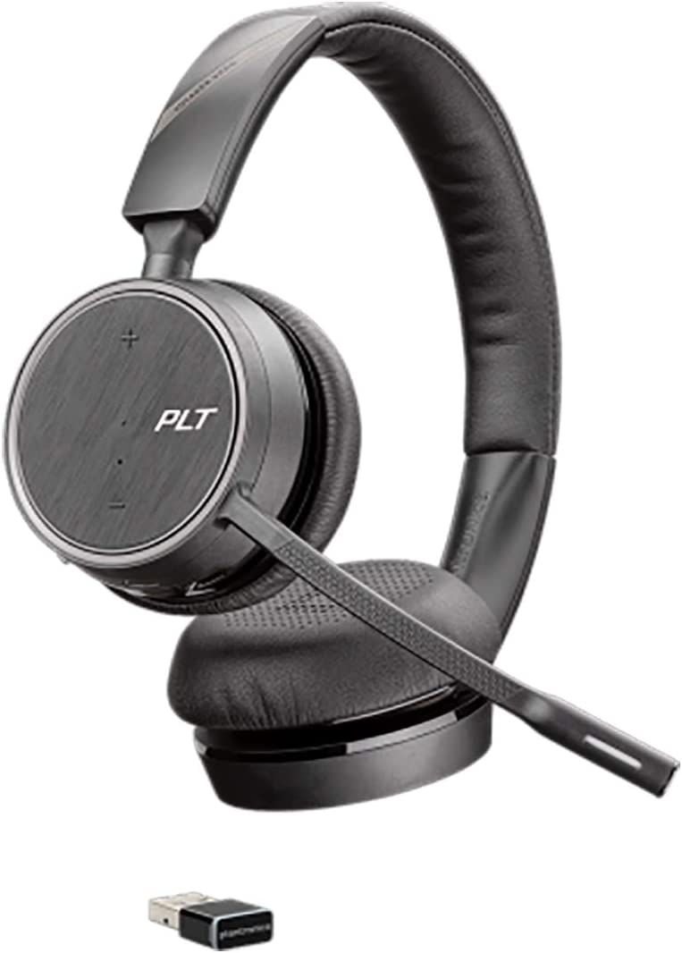 Plantronics Voyager 4220 UC Bluetooth Stereo Headset USB-A BT Dongle SoundGuard Technology Microphone Arm Buttons on Headset Black