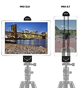 Gimars 4 Button Locking 2 in 1 Phone iPad Pro Tripod Mount Adapter Universal Tablet Clamp Holder Fits iPad Air/Mini, MS Surface More for Monopod/Selfie Stick/Tripod Stand