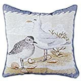 """Shore Birds"" Beach Decorative Accent Throw Pillow 17"" x 17"""