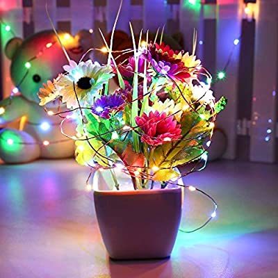 Ryham 2 Pack Fairy Led String Lights Cooper Wire Starry String Lights Battery Operated Color Changing for Bedroom Wedding Kids Ceiling Camping 16.4 Ft 50Leds 5M(Multi Color)