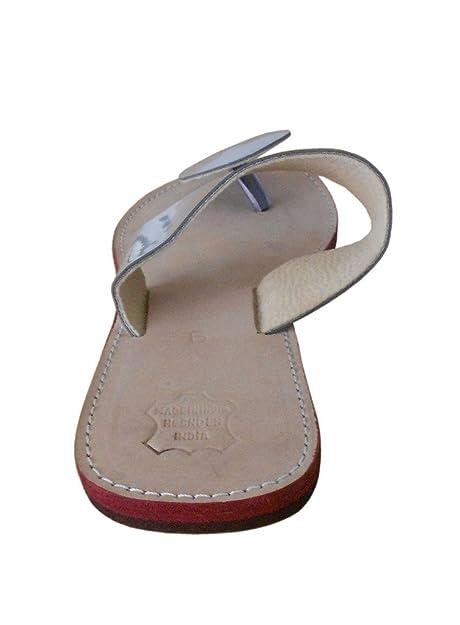 kalra Creations Mujer Tradicional Indio Pantuflas Mocasines Piel Pisos, color crema, talla 41 EU M: Amazon.es: Zapatos y complementos