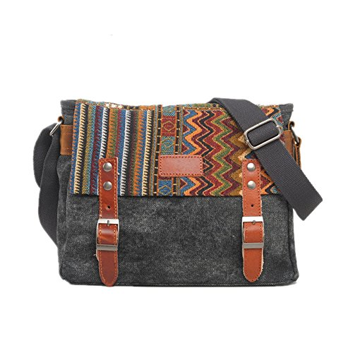 Yiwuhu Messenger Retro Simple gray Zip Classic Color Shoulder Canvas Bag 67Sqw6