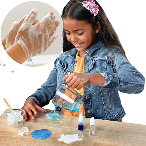 - Discovery MINDBLOWN DIY Soap Making Kit for Kids, Mini Experiment Set with Supplies for Blue Color Sweet Olive-Scented Soap, Sea Turtle and Scallop Seashell Molds
