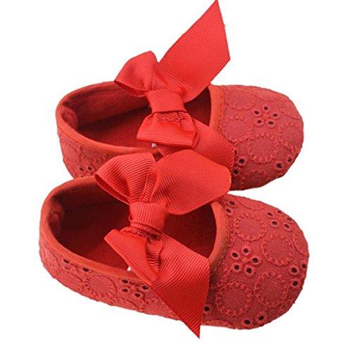 Zapatos de bebé,Tongshi Las niñas algodón cinta Bowknot fondo suave flor Prewalker Rojo